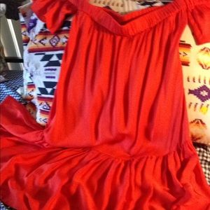 Milly Dresses - Milly red silk off shoulder dress size small sexy